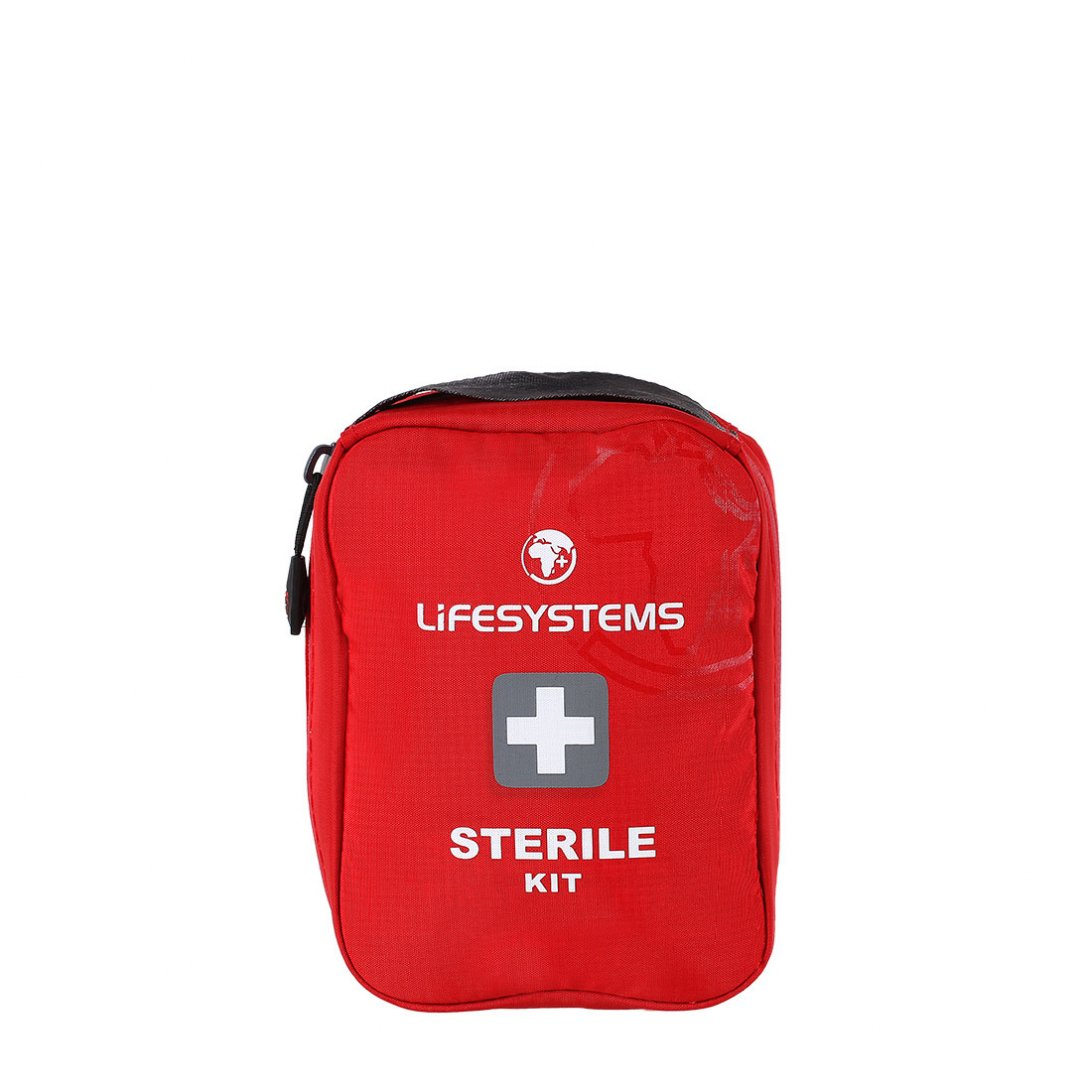 Red sterile first aid kit with black handle