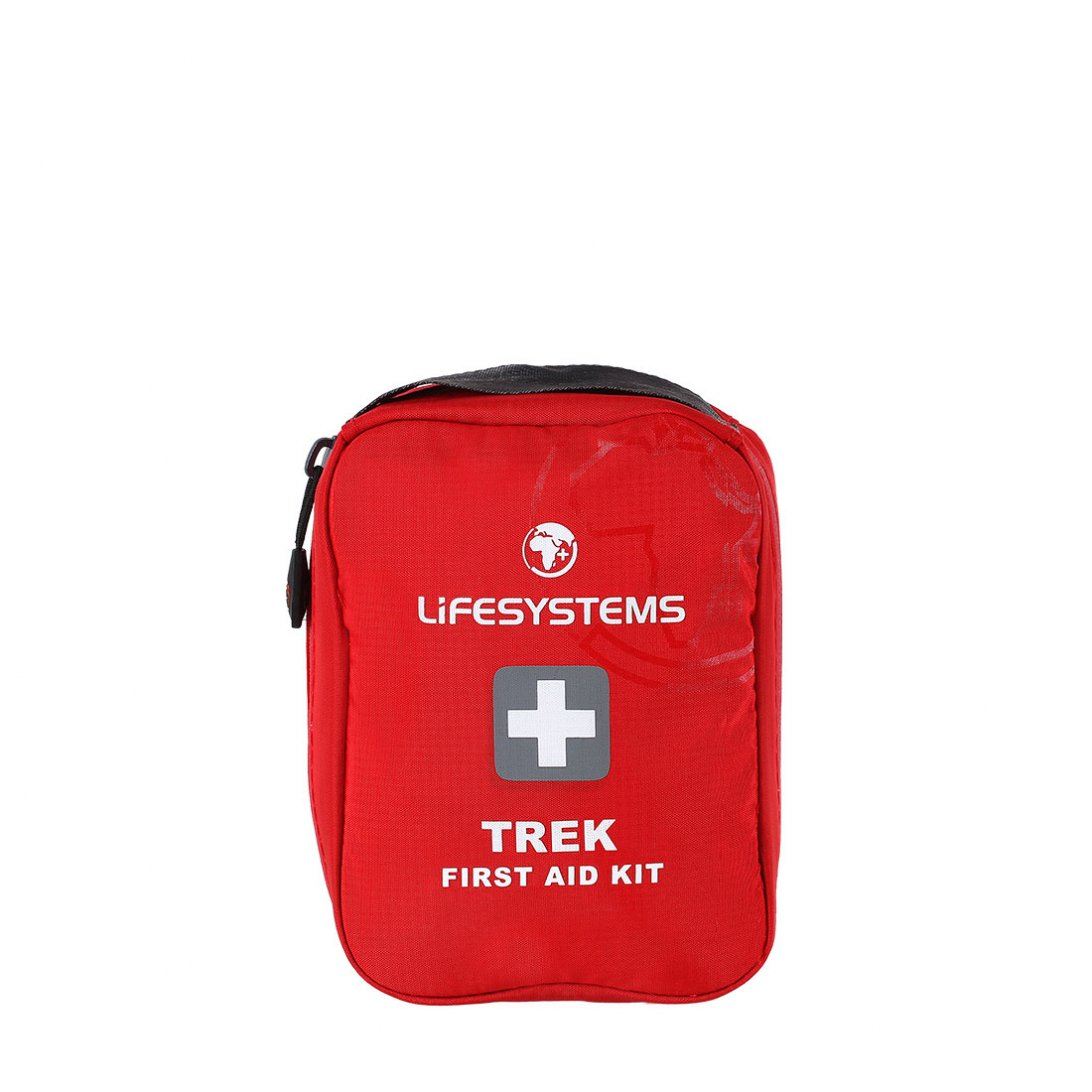 Red trek first aid kit with black handle
