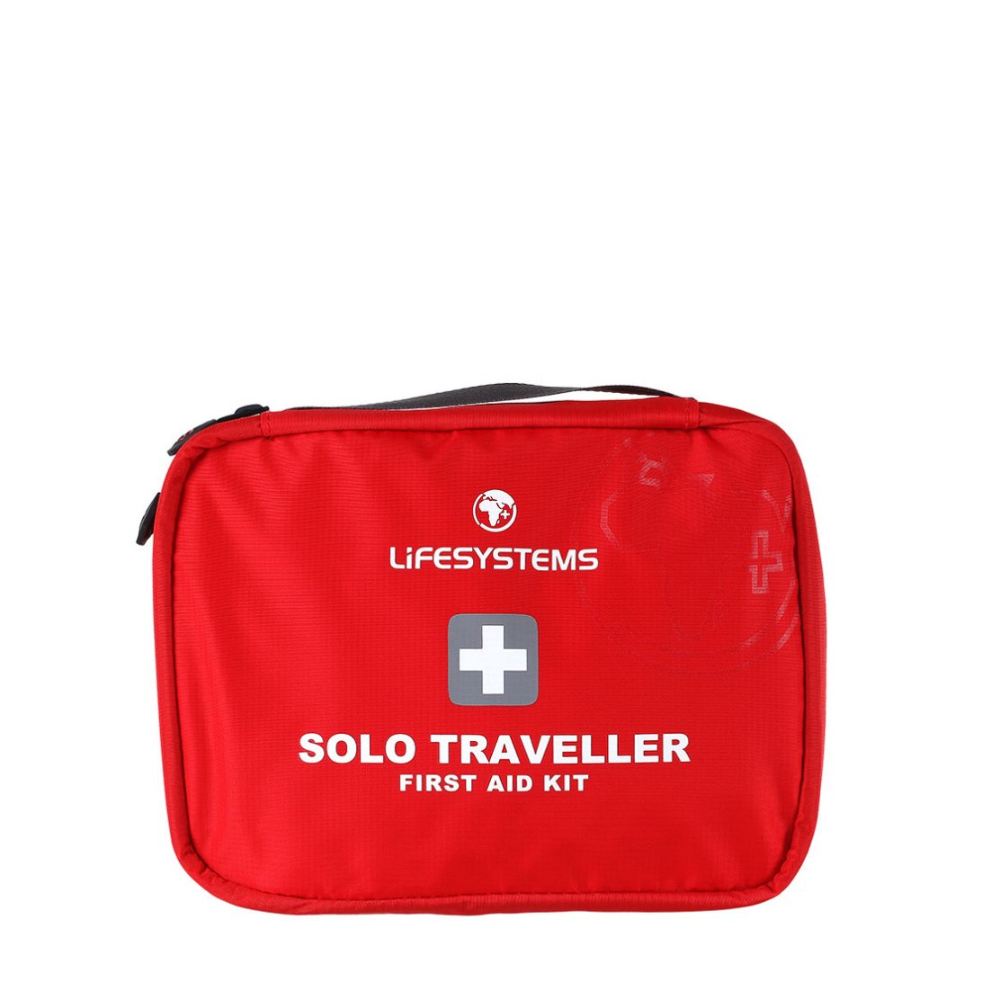 Red travel first aid kit with black handle