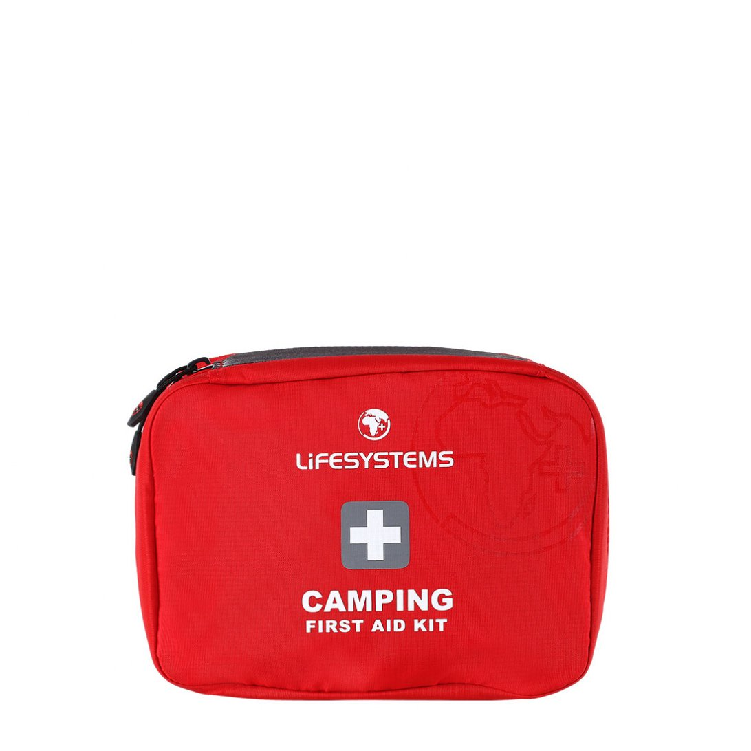 Red camping first aid kit
