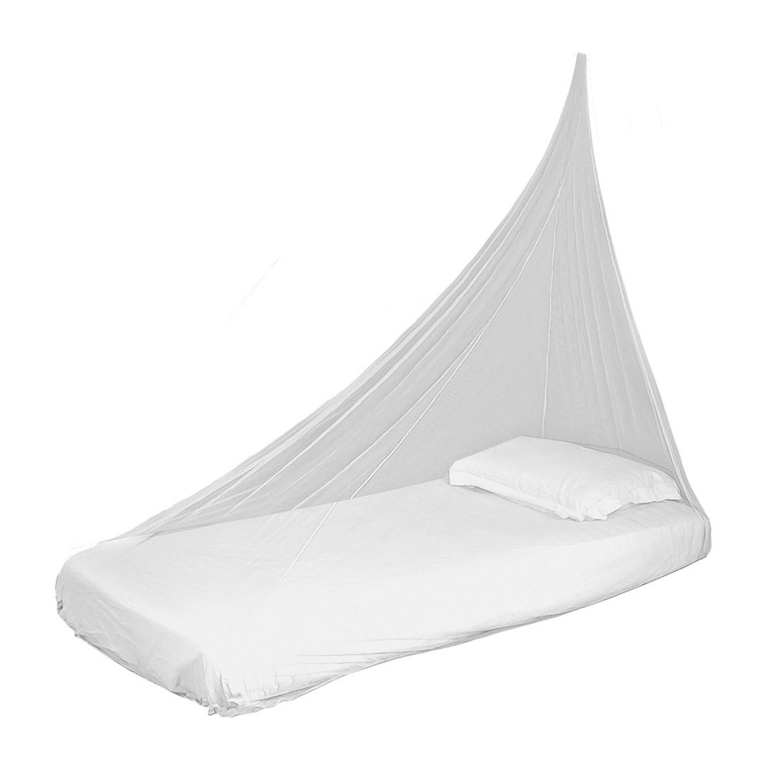 Single mosquito net hanging over bed