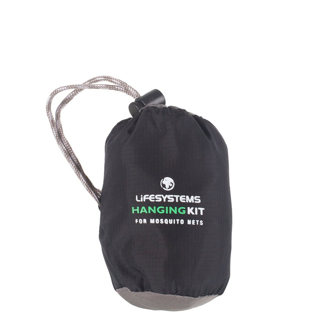 Mosquito net hanging kit in black bag