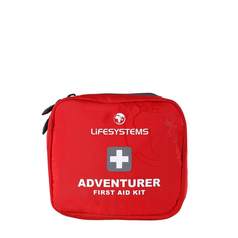 Red adventure first aid kit with black handle