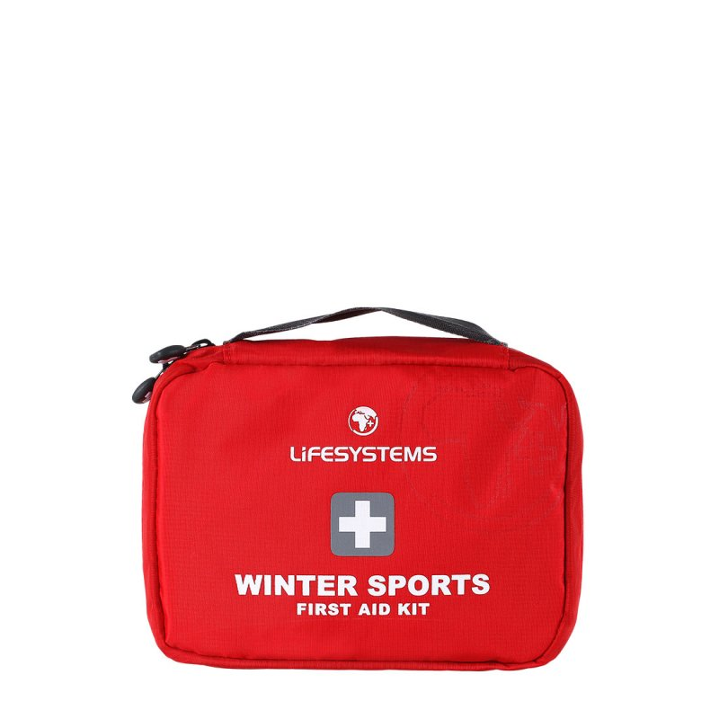 Red winter sports first aid kit with handle