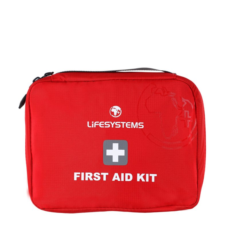 Red first aid bag with black handle