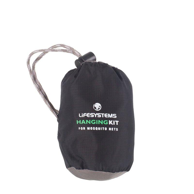 Mosquito net hanging kit in black bag