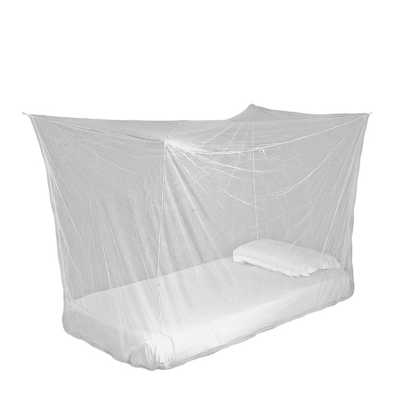 Box mosquito net hanging over bed