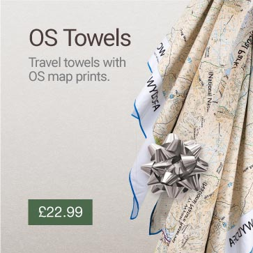 SoftFibre Ordnance Survey Travel Towel Christmas Gift Idea Banner